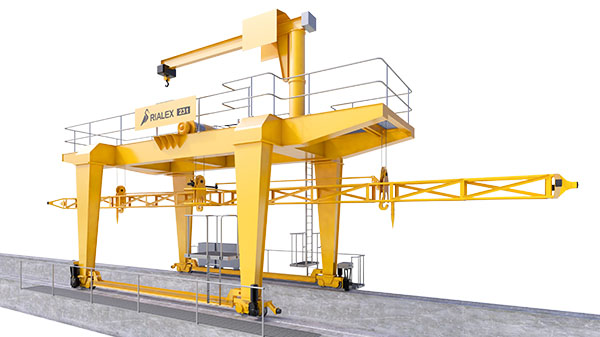 Gantry cranes for stop logs operation